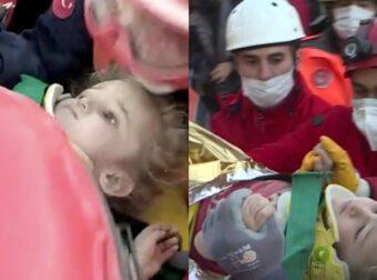 Σεισμός Σμύρνη: Η δραματική διάσωση μιας τρίχρονης μετά από 65 ώρες κάτω από τα συντρίμμια του σπιτιού της