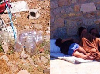 Σκουπίδια, ακαθαρσίες και δυσοσμία: Το θλιβερό θέαμα στα τσαντίρια των Ρομά στη Μύκονο